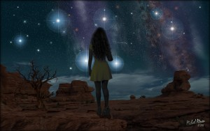star gazing girl